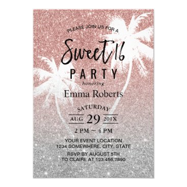 Beach Themed Sweet 16 Tropical Palm Tree Rose Gold Glitter Card