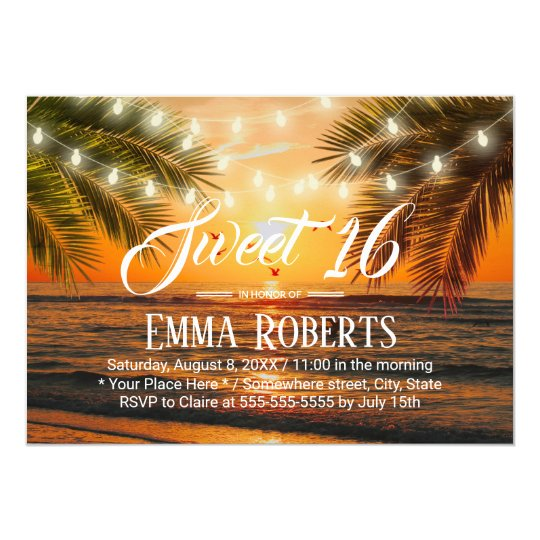 Sunset Beach Lights Personalised Party Invitations
