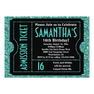 Sweet 16 Turquoise Blue Sparkle Ticket 4.5x6.25 Paper Invitation Card