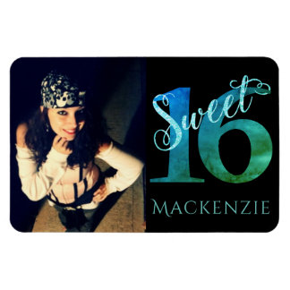 Sweet 16 Turquoise | Watercolor Blue Green Photo Magnet