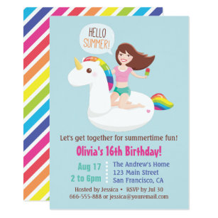 Sweet 16 Unicorn Pool Float Summer Birthday Party Invitation