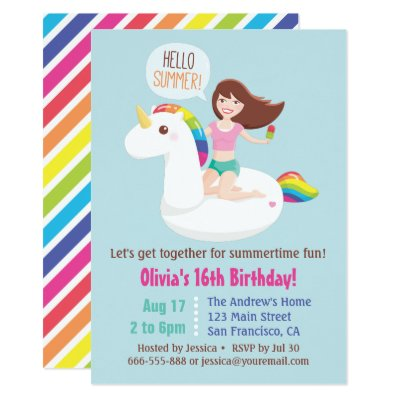 Cute Unicorn Pool Float Kids Summer Birthday Party Invitation