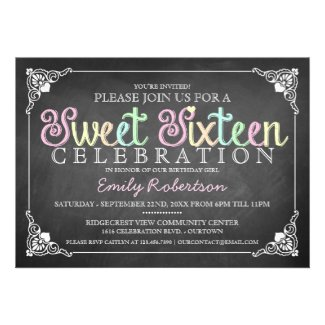 Sweet 16 Vintage Chalkboard Party Invitation