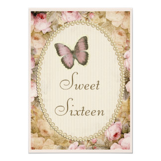 "Sweet 16 Vintage Roses Butterfly & Music Notes 5"" X 7"" Invitation Card"