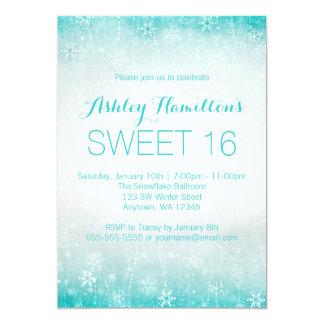 Sweet 16 Vintage Teal Winter Wonderland 5x7 Paper Invitation Card