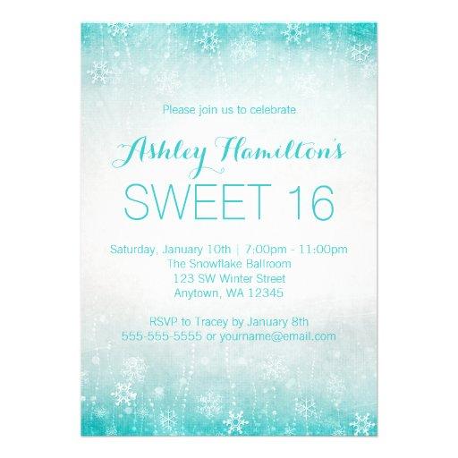 Sweet 16 Vintage Teal Winter Wonderland Invite