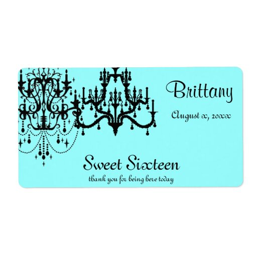 Sweet 16 Water Bottle Labels. Choose your color
