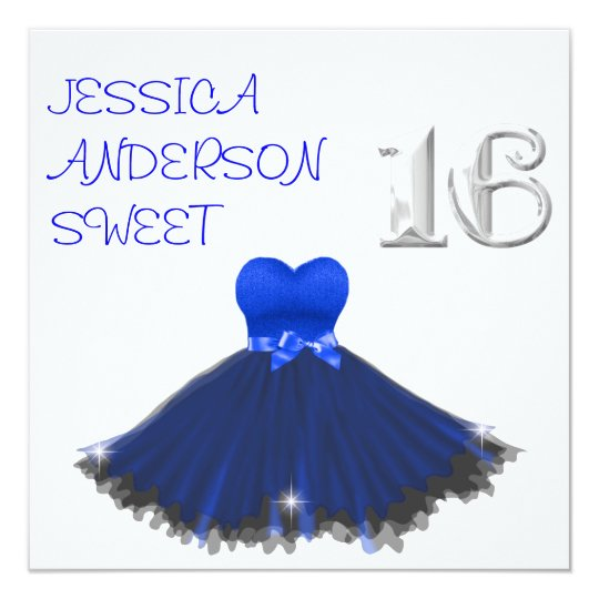 SWEET 16  White Blue Black Dress Sparkles Card
