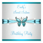 Sweet 16 White Teal Blue Butterfly Birthday Custom Announcements