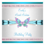 Sweet 16 White Teal Blue Pink Butterfly Birthday Custom Invitations