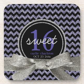 Sweet 16 Wild Glitter Look Purple Chevron Pattern Coaster
