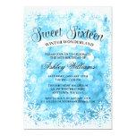 Sweet 16 Winter Wonderland Blue Glitter Lights Card
