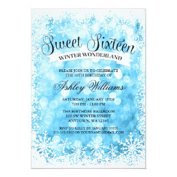 Sweet 16 Winter Wonderland Blue Glitter Lights Card