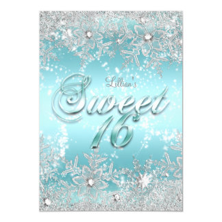 Sweet 16 Winter Wonderland Blue Teal Snowflake Card