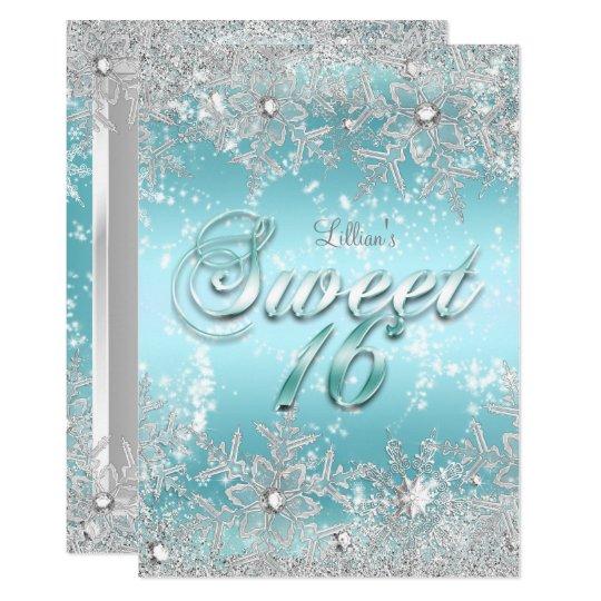 sweet 16 winter wonderland blue teal snowflake invitation zazzle com