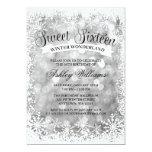 Sweet 16 Winter Wonderland Silver Glitter Lights Card