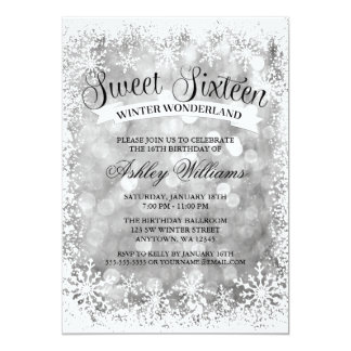 Sweet 16 Winter Wonderland Silver Glitter Lights Card