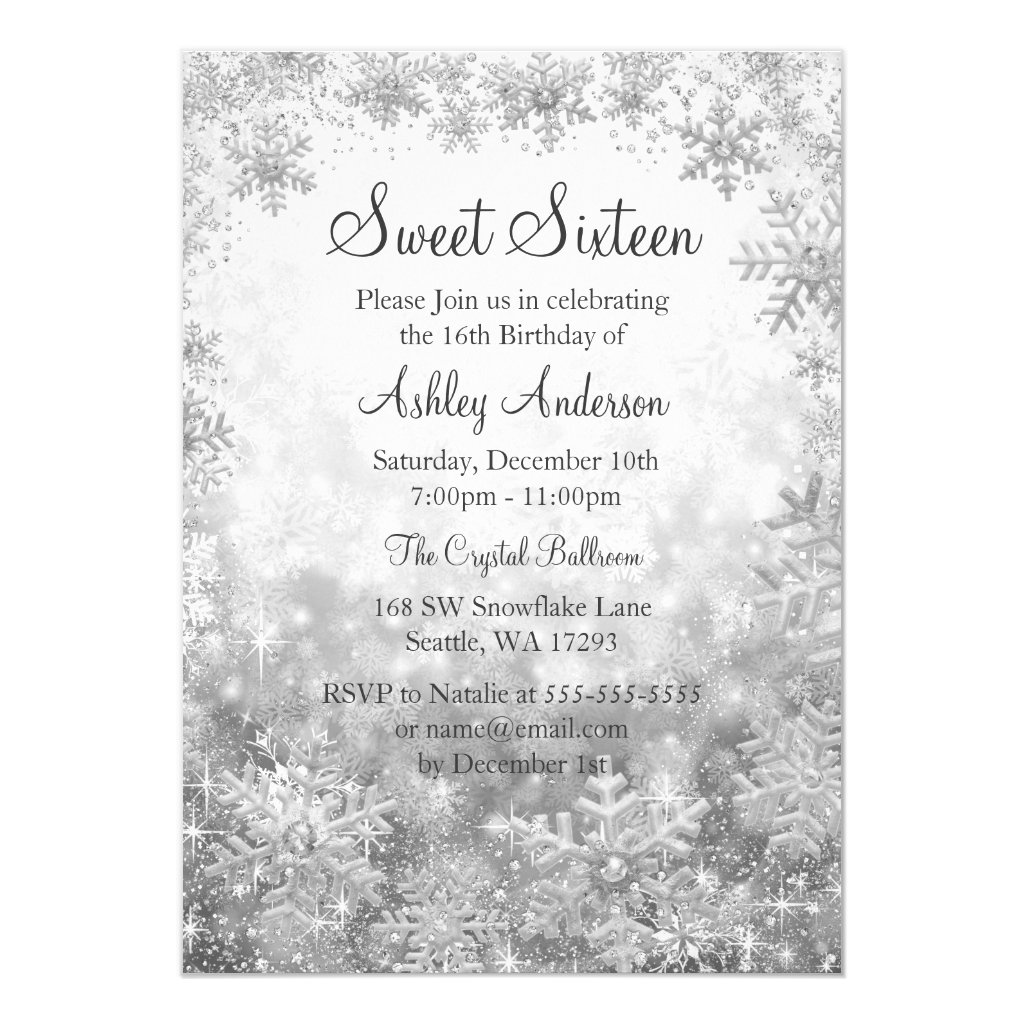Sweet 16 Winter Wonderland Silver Snowflakes Invitation