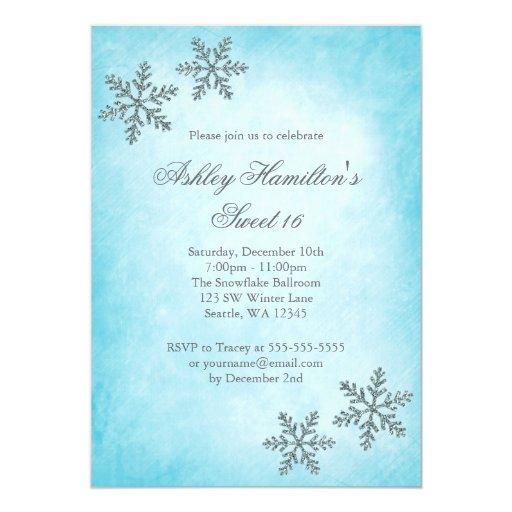 Sweet 16 Winter Wonderland Sparkle Snowflakes 5x7 Paper Invitation Card