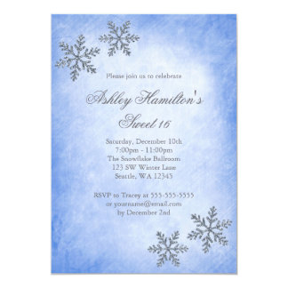 Sweet 16 Winter Wonderland Sparkle Snowflakes Blue 5x7 Paper Invitation Card