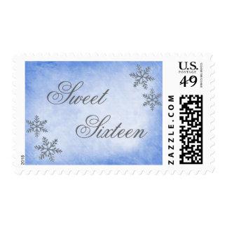 Sweet 16 Winter Wonderland Sparkle Snowflakes Blue Postage