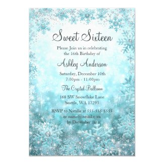 Sweet 16 Winter Wonderland Sparkle Snowflakes Invitation