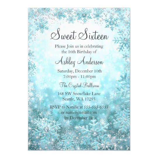 Sweet 16 Winter Wonderland Sparkle Snowflakes Invitation Zazzle Com