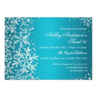 Sweet 16 Winter Wonderland Sparkle Snowflakes Custom Invitation