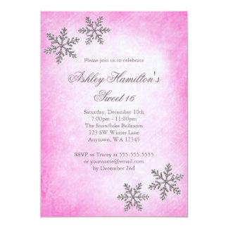 Sweet 16 Winter Wonderland Sparkle Snowflakes Pink 5x7 Paper Invitation Card