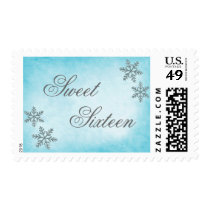 Sweet 16 Winter Wonderland Sparkle Snowflakes Teal Postage