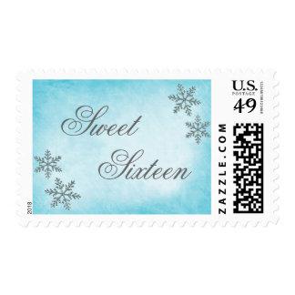 Sweet 16 Winter Wonderland Sparkle Snowflakes Teal Postage