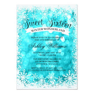 Sweet 16 Winter Wonderland Teal Glitter Lights Card