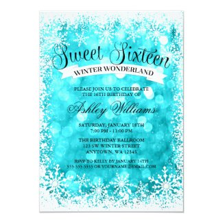 Sweet 16 Winter Wonderland Teal Glitter Lights Invitation