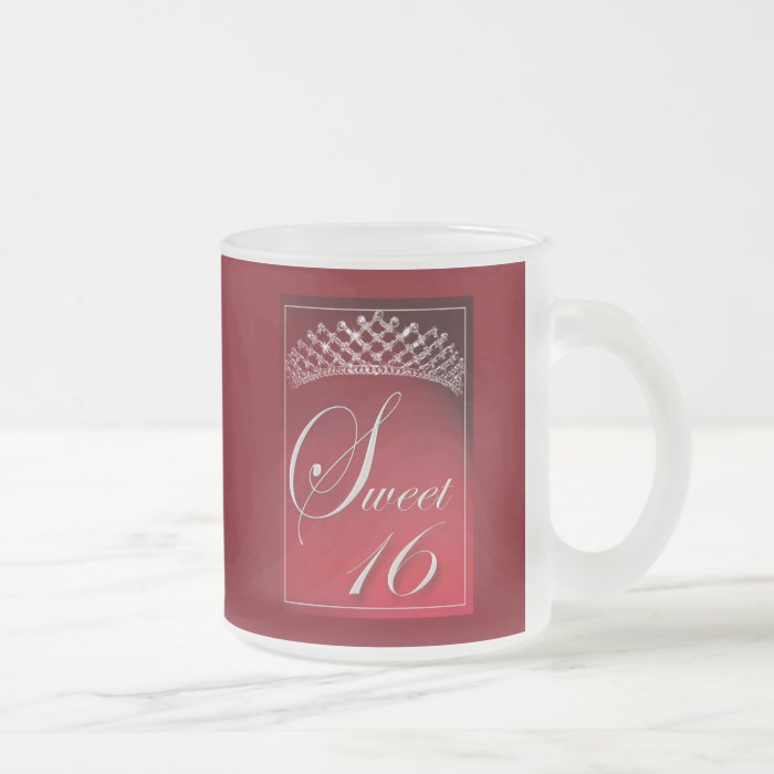 Sweet 16 with a tiara! frosted glass coffee mug