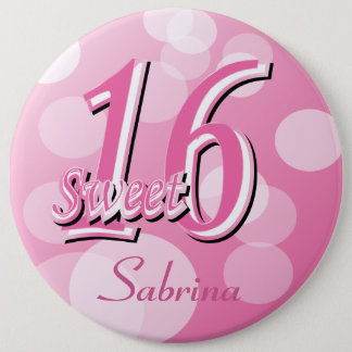 Sweet 16 Word Art | 16th Birthday Pinback Button