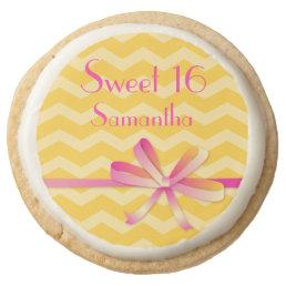 Sweet 16 Yellow Chevron Round Shortbread Cookie