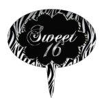 Sweet 16 Zebra Black White For Cake Oval Cake Pick