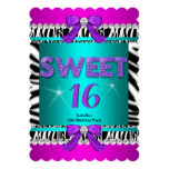 Sweet 16 Zebra Pink Teal Purple Bow Fun Party 3S Invite