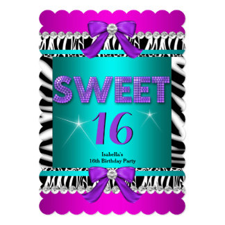 Sweet 16 Zebra Pink Teal Purple Bow Fun Party 3S 5x7 Paper Invitation Card
