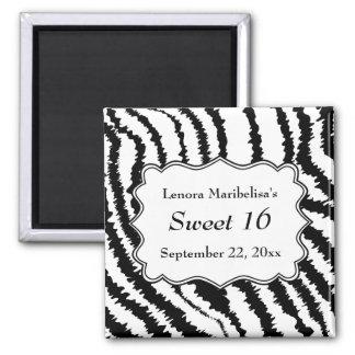Sweet 16 Zebra Print Pattern Refrigerator Magnet