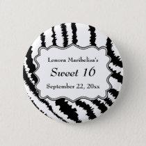 Sweet 16 Zebra Print Pattern Pinback Button