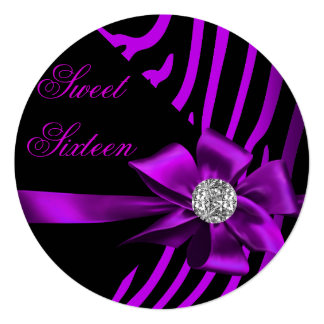Sweet 16 Zebra Purple Pink Silver Black Party Card