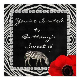 SWEET 16 ZEBRA THEME with BLING  INVITATIONS