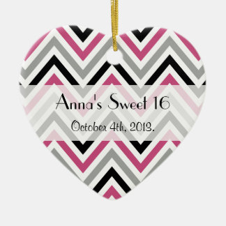 Sweet 16 - Zigzag (Chevron), Stripes - Gray Pink Ornaments
