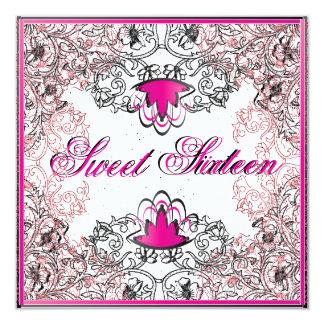 Sweet 16Royal Elegance B/W Fuschia Invitation