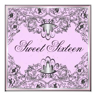 Sweet 16Royal Elegance Bl/Silver Pink Invitation