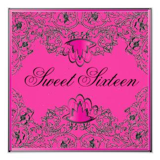 Sweet 16Royal Elegance Black Fuschia Invitation