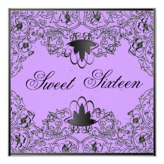 Sweet 16Royal Elegance Black Purple Invitation