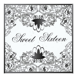 Sweet 16Royal Elegance Black White Invitation