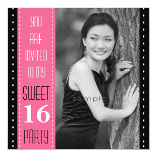 Sweet 16th Birthday Black PINK Large Photo Card